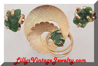 Vintage CORO Golden Jade Retro Brooch Earrings Set