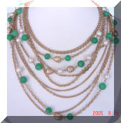 Kramer green pearl beads necklace