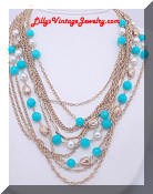 Kramer pearls turquoise beads necklace