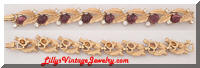ART Purple Cabs Rhinestones Golden Vintage Bracelet