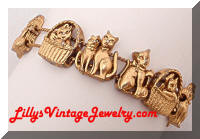 Adorable Golden Cats Charms Slide Bracelet
