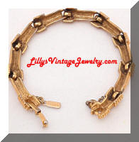 Vintage MONET Golden Bamboo Links Bracelet
