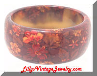 Vintage Autumn Floral Plastic Bangle Bracelet