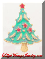 AAI Green Rd Enamel Stars Christmas Tree Brooch