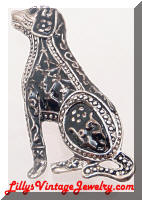 Artistic Detailed Black Enamel Dog Brooch