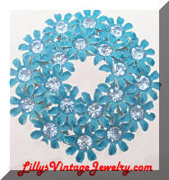 Blue Enamel Rhinestones Flowers Wreath Brooch