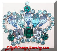 Vintage Blue Green Rhinestones Crown brooch