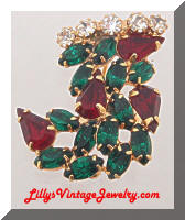 Vintage Christmas Stocking Red Green Rhinestones Brooch