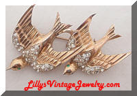 CORO Duette Sterling Swallow Birds Fur Clips Brooch