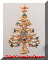 MEESCO Golden Rhinestones Christmas Tree Brooch