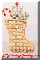 EISENBERG Ice Golden Glitzy Christmas Stocking Brooch