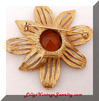 Vintage FLORENZA Golden Topaz RS Flower Brooch