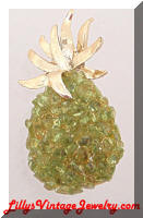 Vintage Peridot Chunks Pineapple Brooch