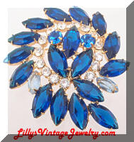DeLizza and Elster JULIANA Blue Rhinestones Comma Brooch