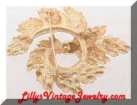 Vintage Lisner Golden Swirling Leaves Wreath Brooch