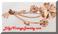 Vintage Ostby & Barton Co. Rose Gold Floral Rhinestones Brooch