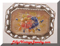 Vintage Framed Floral Goofus Glass Paperweight Brooch