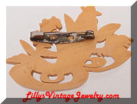 Vintage Carved Celluloid Fish Brooch