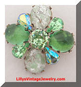 Regency Vintage green rhinestones confetti glass brooch