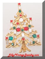Vintage Golden Christmas Tree Candles Brooch