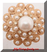 Vintage SARAH COVENTRY Pearls Rhinestones Moonlight Brooch