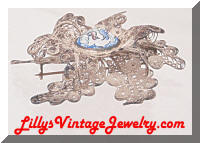 Unique Vintage Cannetille Hand Painted Birds Brooch