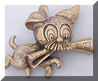Whimsical Vintage Tortolani Dog Fetching Paper Brooch