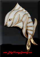 TRIFARI Vintage White Enamel Fish Brooch