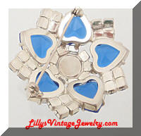 Vintage AB Blue Hearts Rhinestones Domed Brooch