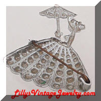 Vintage Aluminum Lady with Parasol Brooch