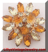 Citrine Rhinestones Art Glass Brooch