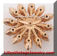 Citrine art glass rhinestones vintage brooch