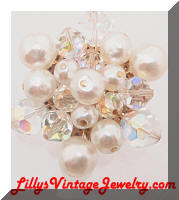 Vintage AB Crystals faux Pearls Cluster Brooch
