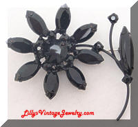 Vintage Black Rhinestones Japanned Flower Brooch