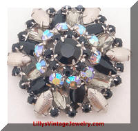 Metallic Black AB rhinestones brooch