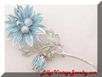 Blue enamel rhinestones beads large flower vintage brooch