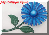 Vintage Blue Flower Power Enamel Brooch