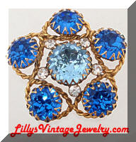 Vintage Bright Blue Headlight Rhinestones Brooch