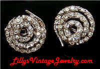 Vintage Rhinestone Coiled Snakes Scatter Pins Pair