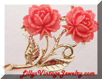 Vintage Coral Celluloid Roses Brooch