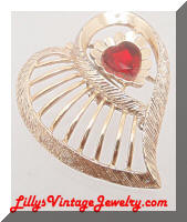Vintage Golden Heart Red Rhinestone Brooch