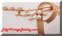 Vintage Brushed Golden Atomic faux Pearls Brooch