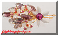 Vintage Lavender Art Glass Rhinestones Floral Spray Brooch
