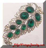 Vintage Clear and Green Rhinestones Leaf Brooch