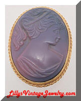 Vintage Purple Lady Cameo Brooch