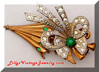 Vintage Art Modern Umbrella Bow Brooch