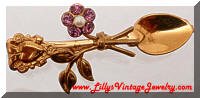 Vintage Sweetheart Spoon Floral Heart Pin