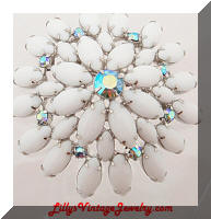 Vintage White Milk Glass AB Blue Rhinestones Brooch