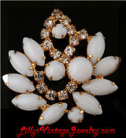 Vintage Milk Glass Cabs Rhinestones Brooch