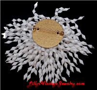 Vintage Plastic White Beads Shaggy Brooch